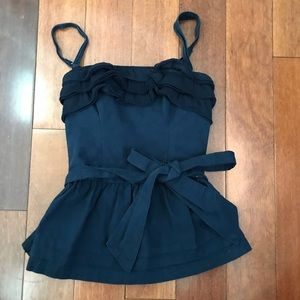 Gilly Hicks Navy Blue, Ruffle Tank Top